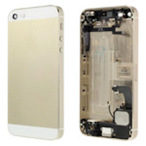 IPHONE 5 CARCASA TRASERA CON FLEX/CARGA/VOLUMEN/ALTAVOZ  DORADO-BLANCO  Repuestos iPhone 5